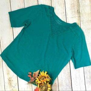 Hannah Teal Green Lace Top Size Large